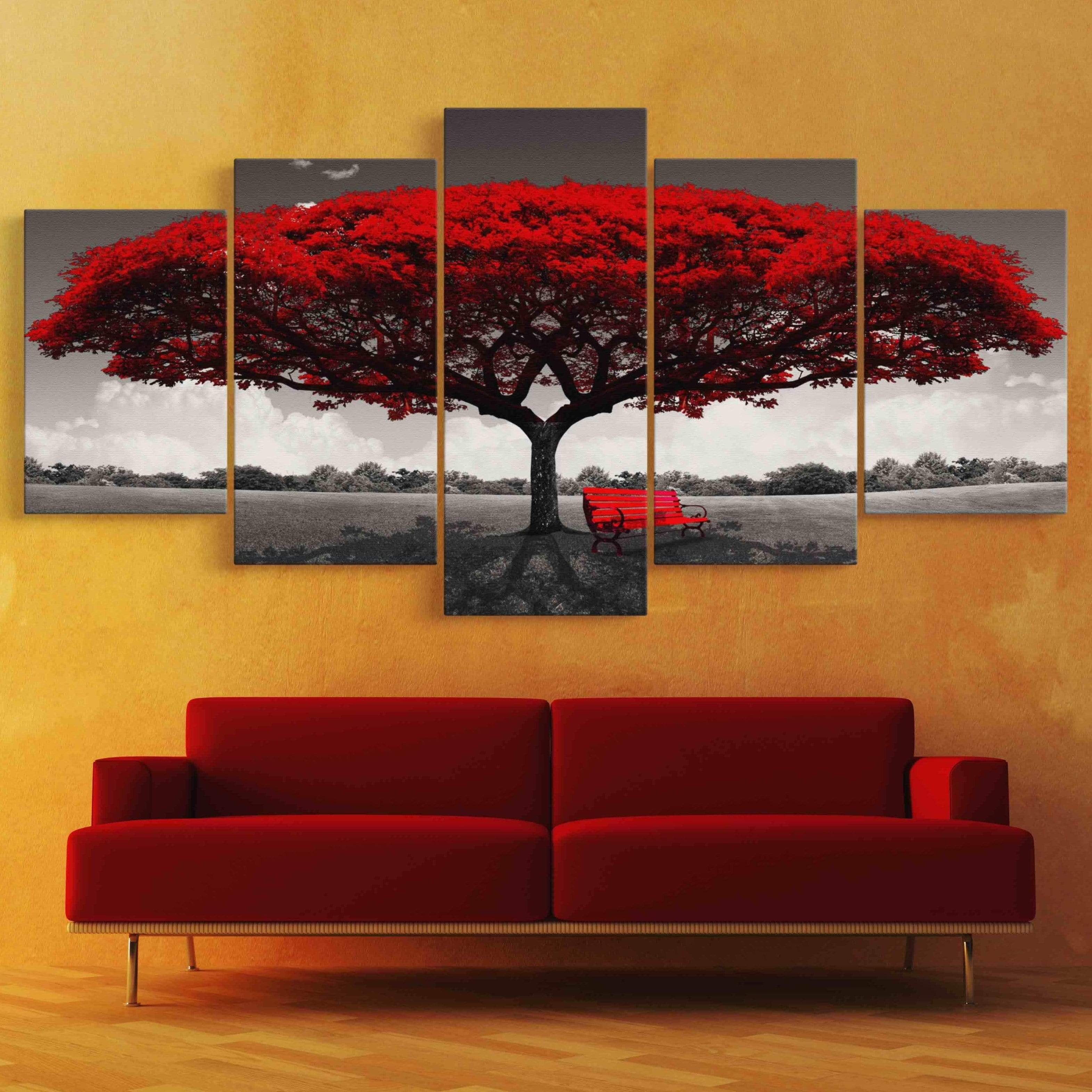 Romantic Tree 5 panel wall art canvas