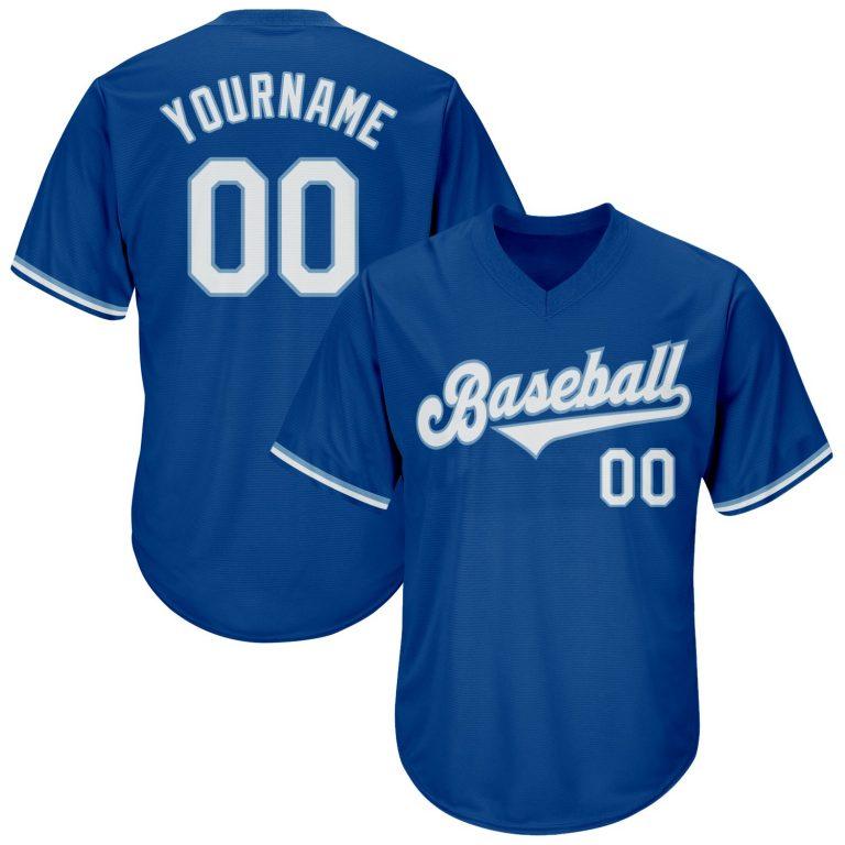 Custom Royal White-Light Blue Authentic Throwback Rib-Knit Baseball Jersey Shirt