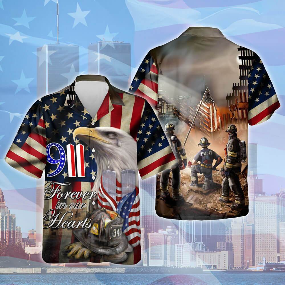 Firefighter 343 September 11th Forever In Our Hearts Hawaiian Shirt