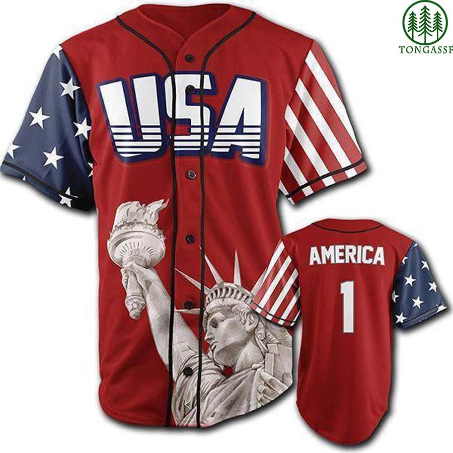 Red American First Statue of Liberty baseball jersey Shirt