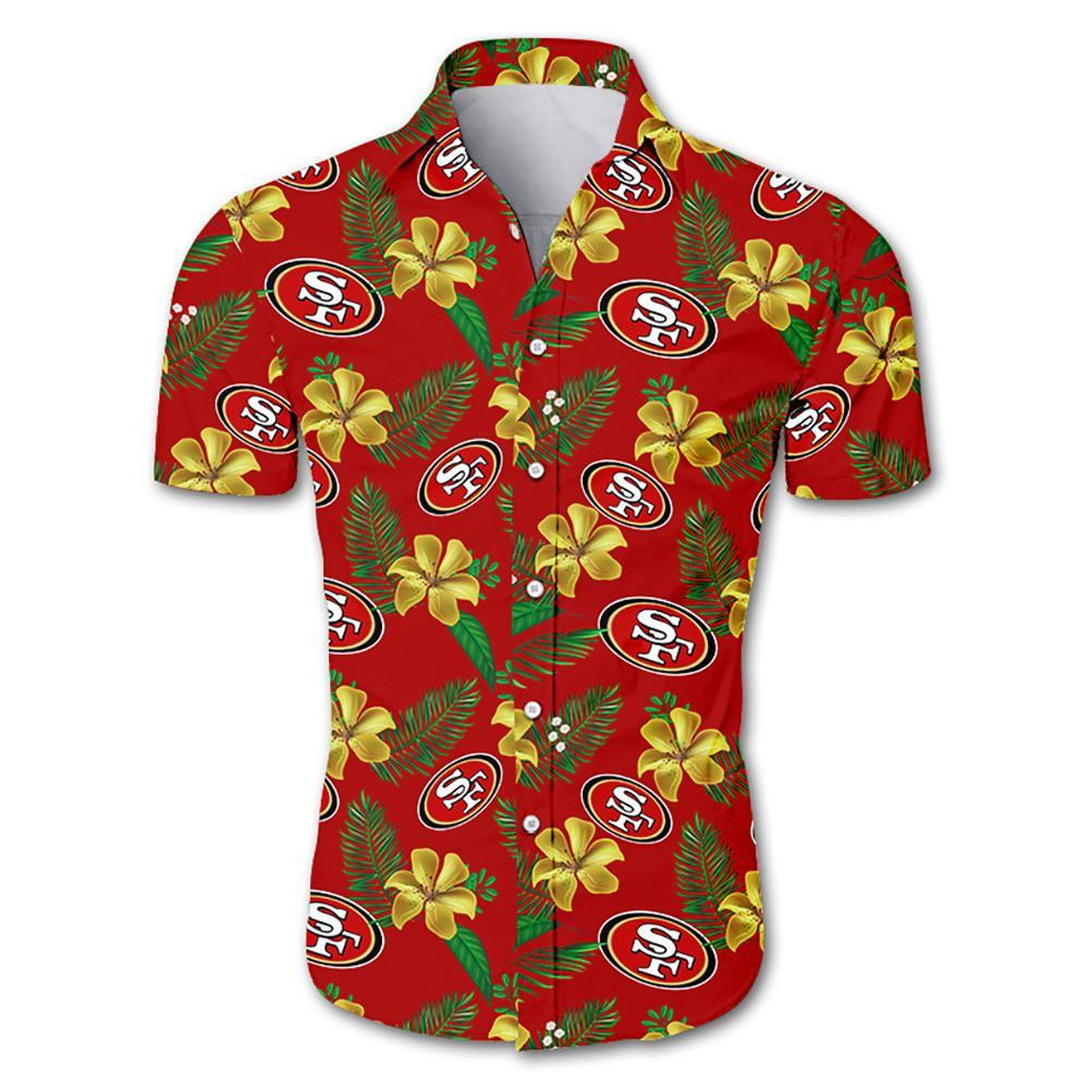 San Francisco 49ers Hawaiian Shirt Red Floral