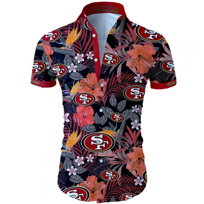 San Francisco 49ers Hawaiian Shirt Tropical Flower