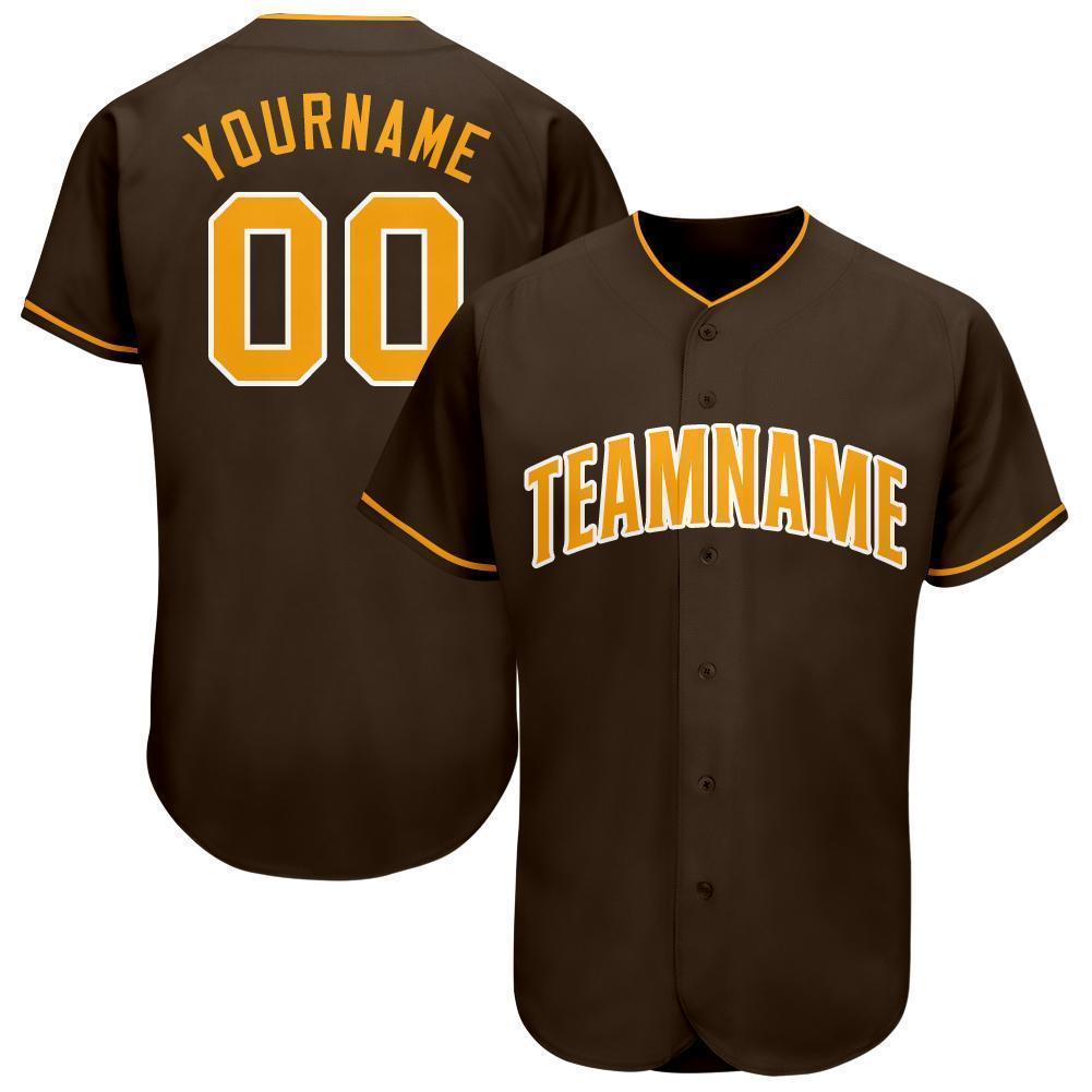 Custom Team Name Number Brown Gold-White Baseball Jersey
