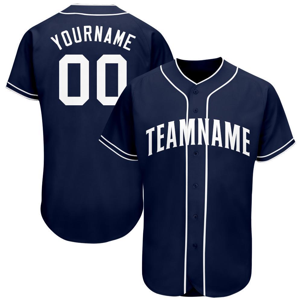 Custom Name and Number Navy White Baseball Jersey