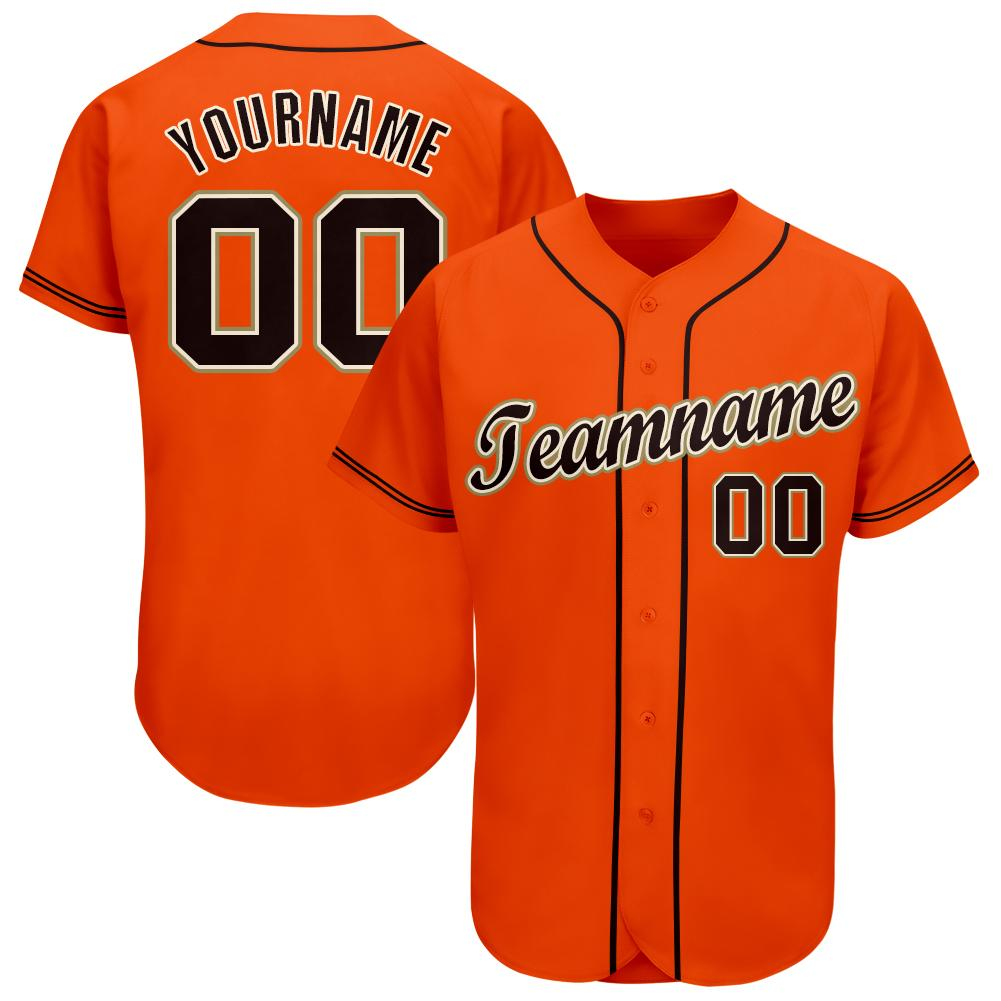 Personalized Orange Black-Cream Baseball Jersey for sport team