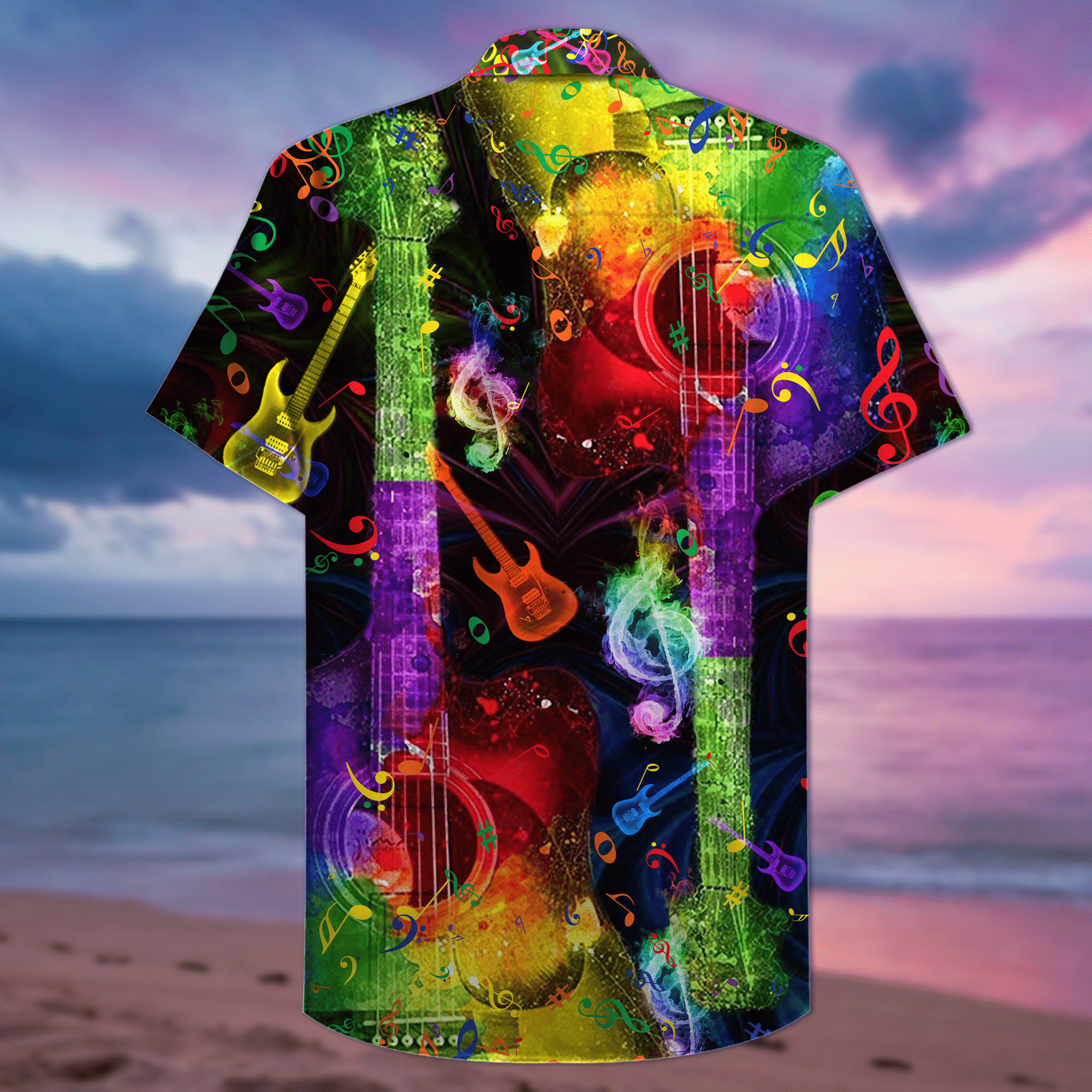 Guitar Rainbow Hawaiian Aloha Summer Shirts