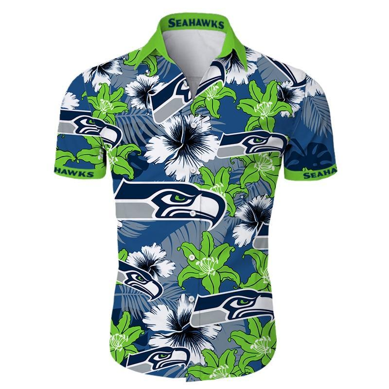 Seattle Seahawks Hawaiian Shirt Tropical Flower