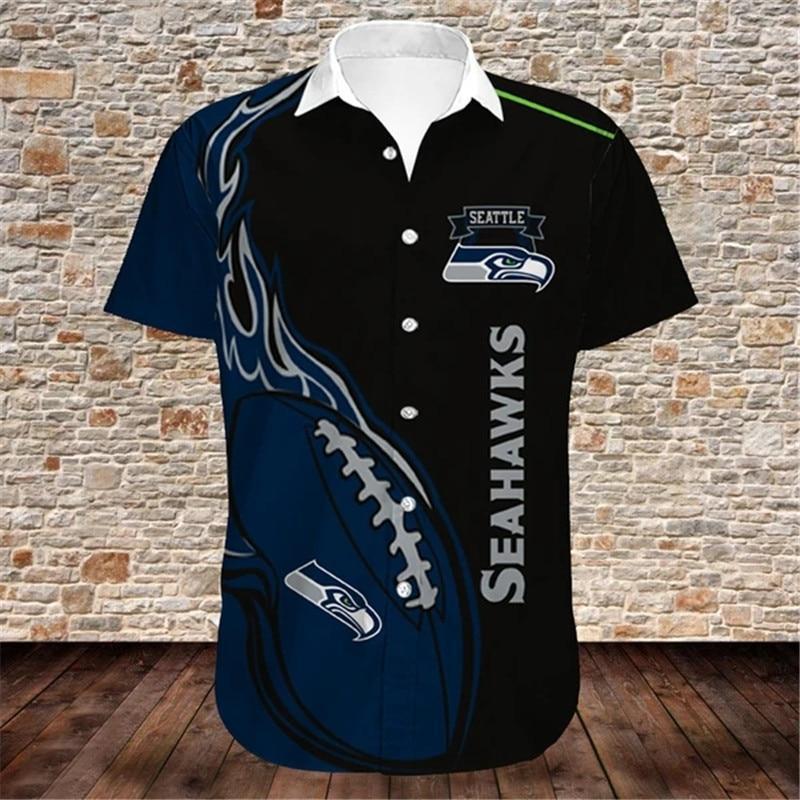 Seattle Seahawks Hawaiian Shirts Fireball
