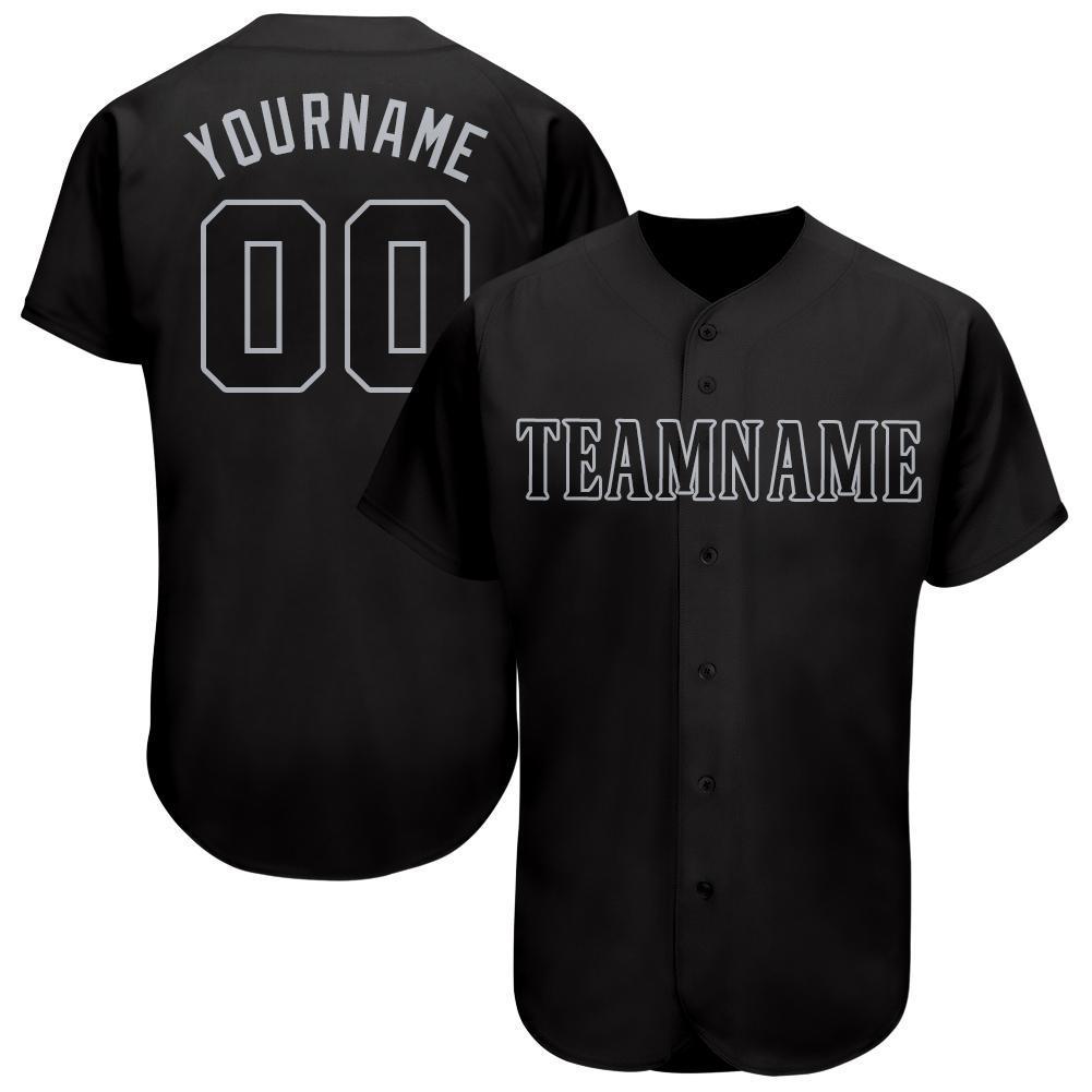 Custom Name and Number Black Gray Baseball Jersey Shirt