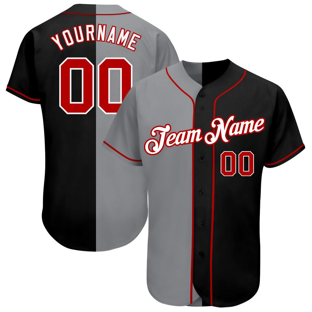 Personalized Black Red-Gray Split Fashion Baseball Jersey shirt