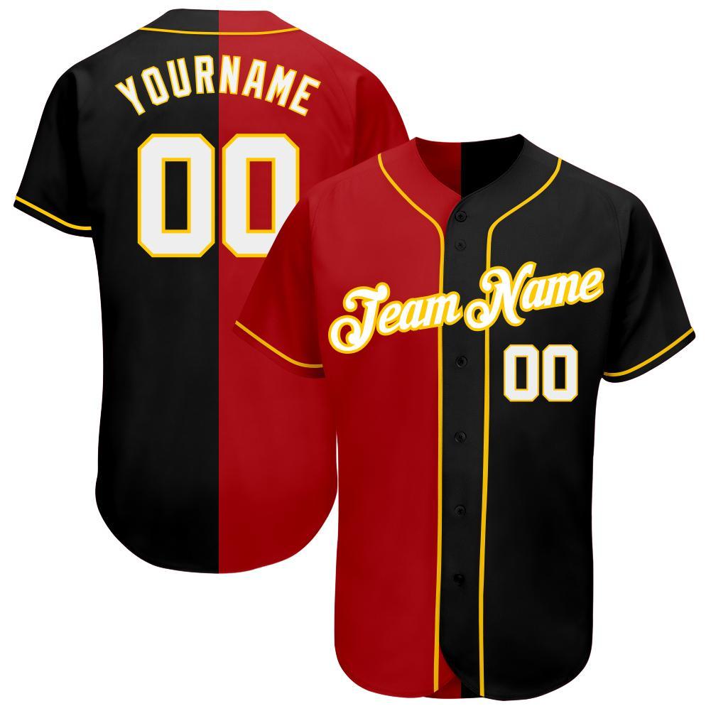 Custom Black White-Red Split New Fashion Baseball Jersey shirt