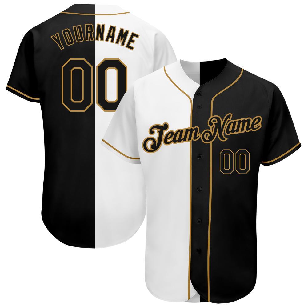 Custom White-Black Split Old Gold Authentic Fashion Baseball Jersey