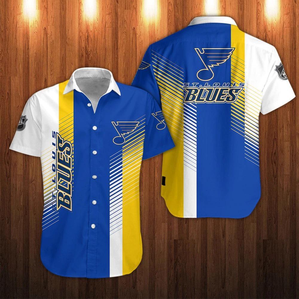 NHL St Louis Blues Striped Button Up Hawaiian Shirts