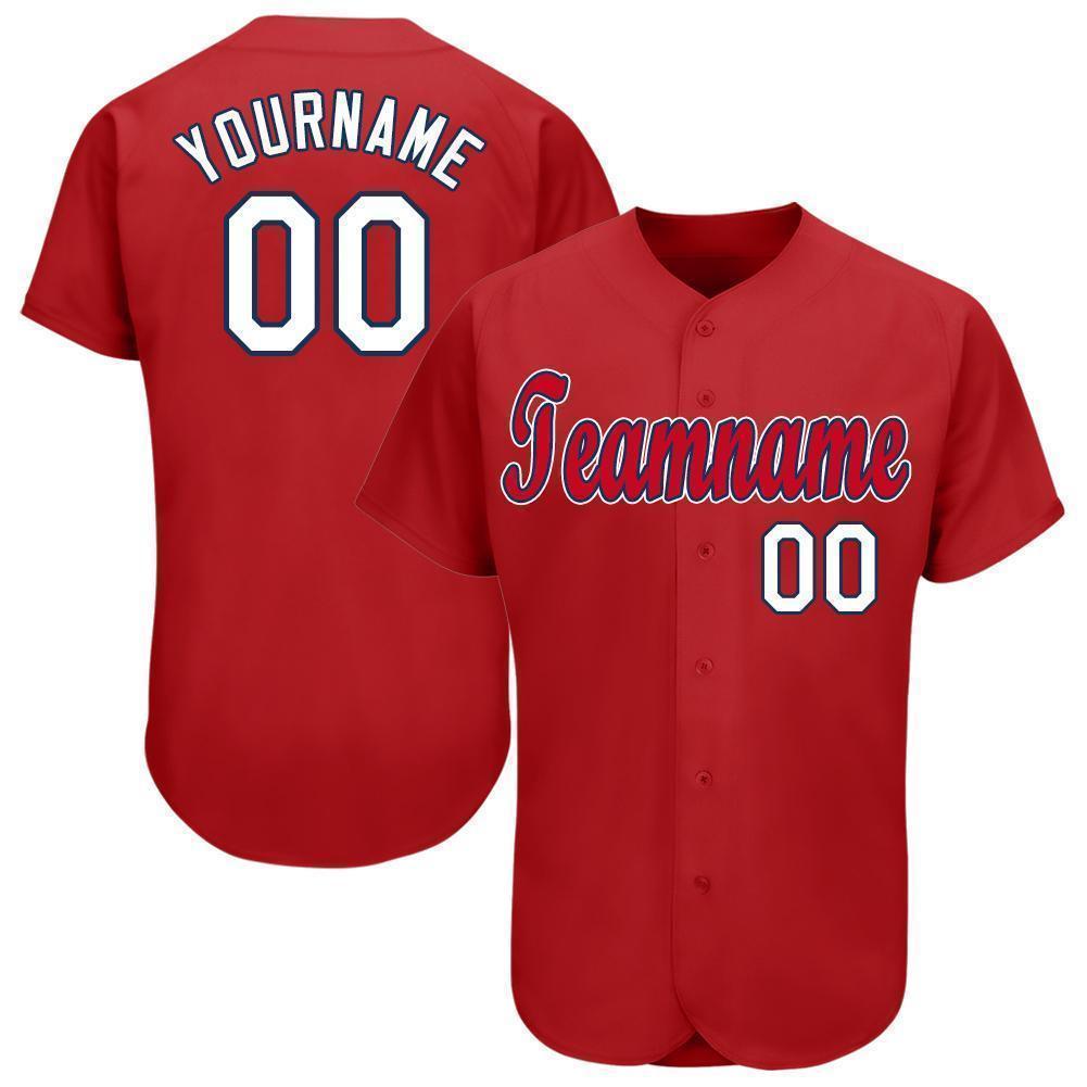 Custom Red White-Navy Baseball Jersey