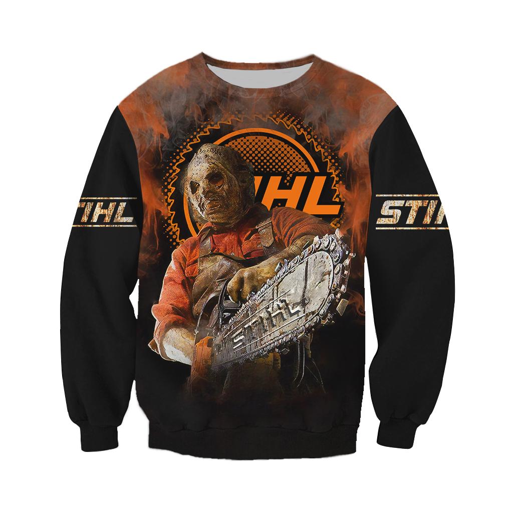 Stihl Horror Leatherface Chainsaw Halloween 3D Sweatshirt