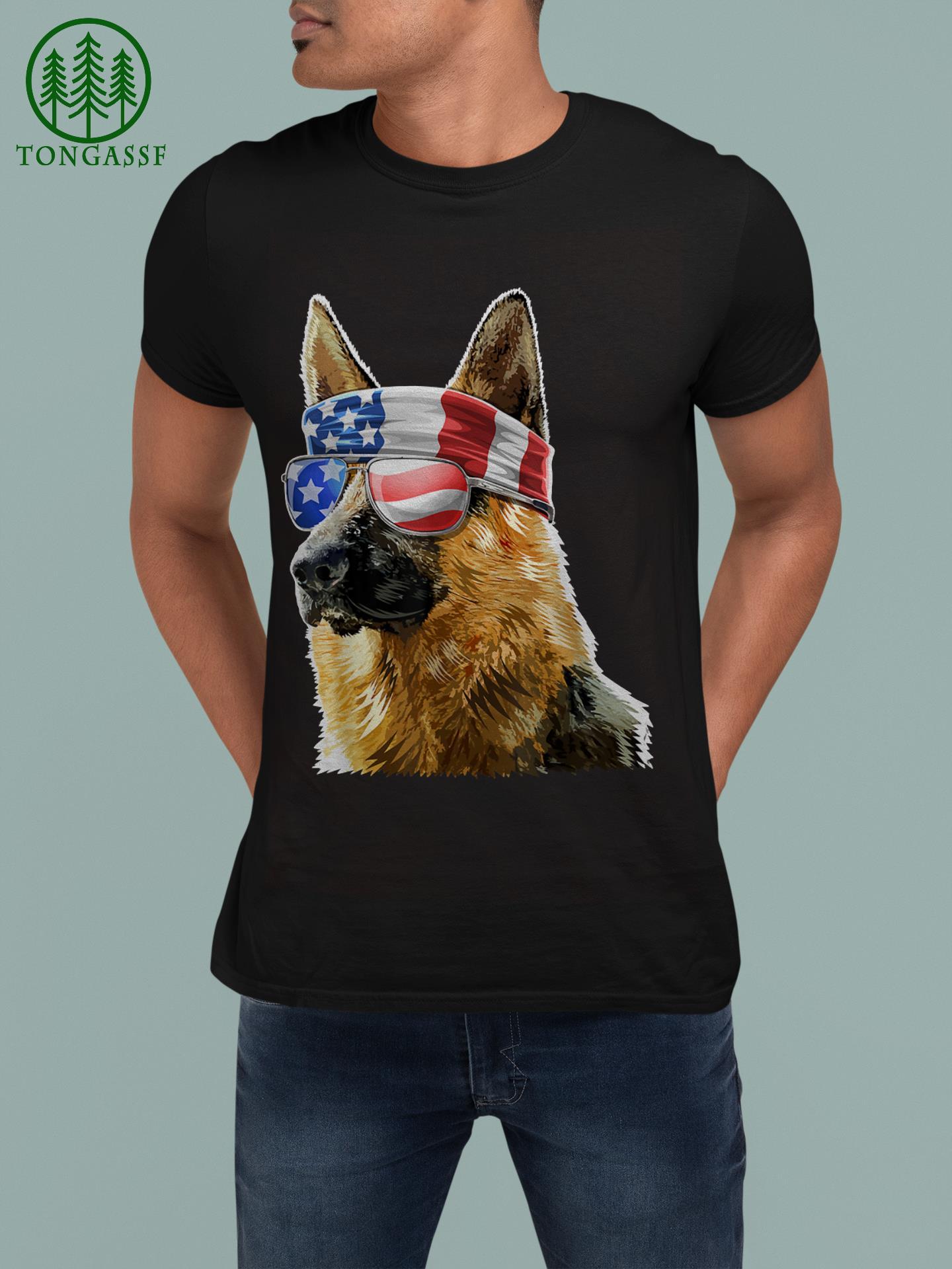 German Shepherd 4th of July Patriotic American Flag Shirt