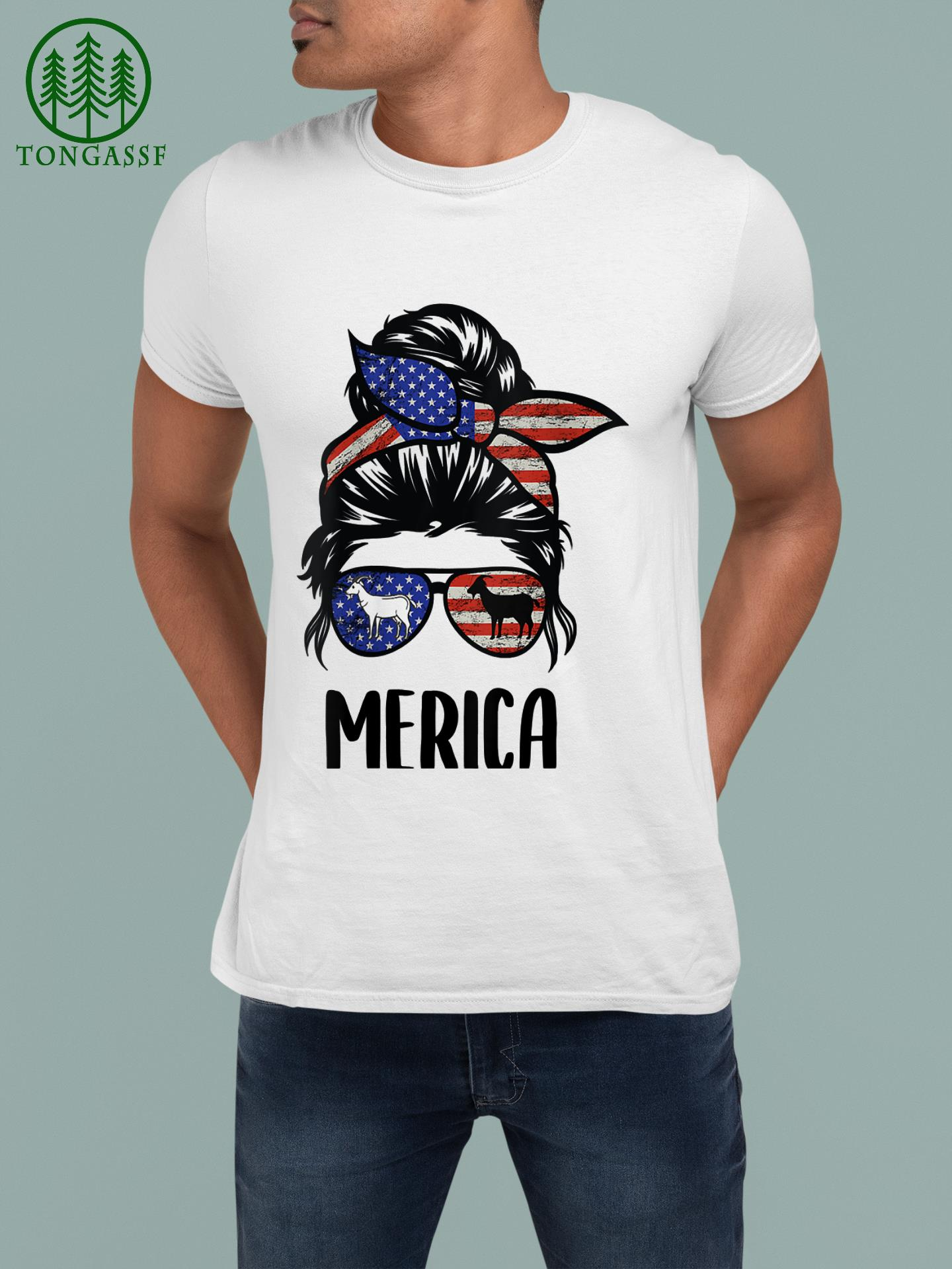 Womens Goat Merica 4th Of July Matching Tee Mother & Daughter messy T Shirt