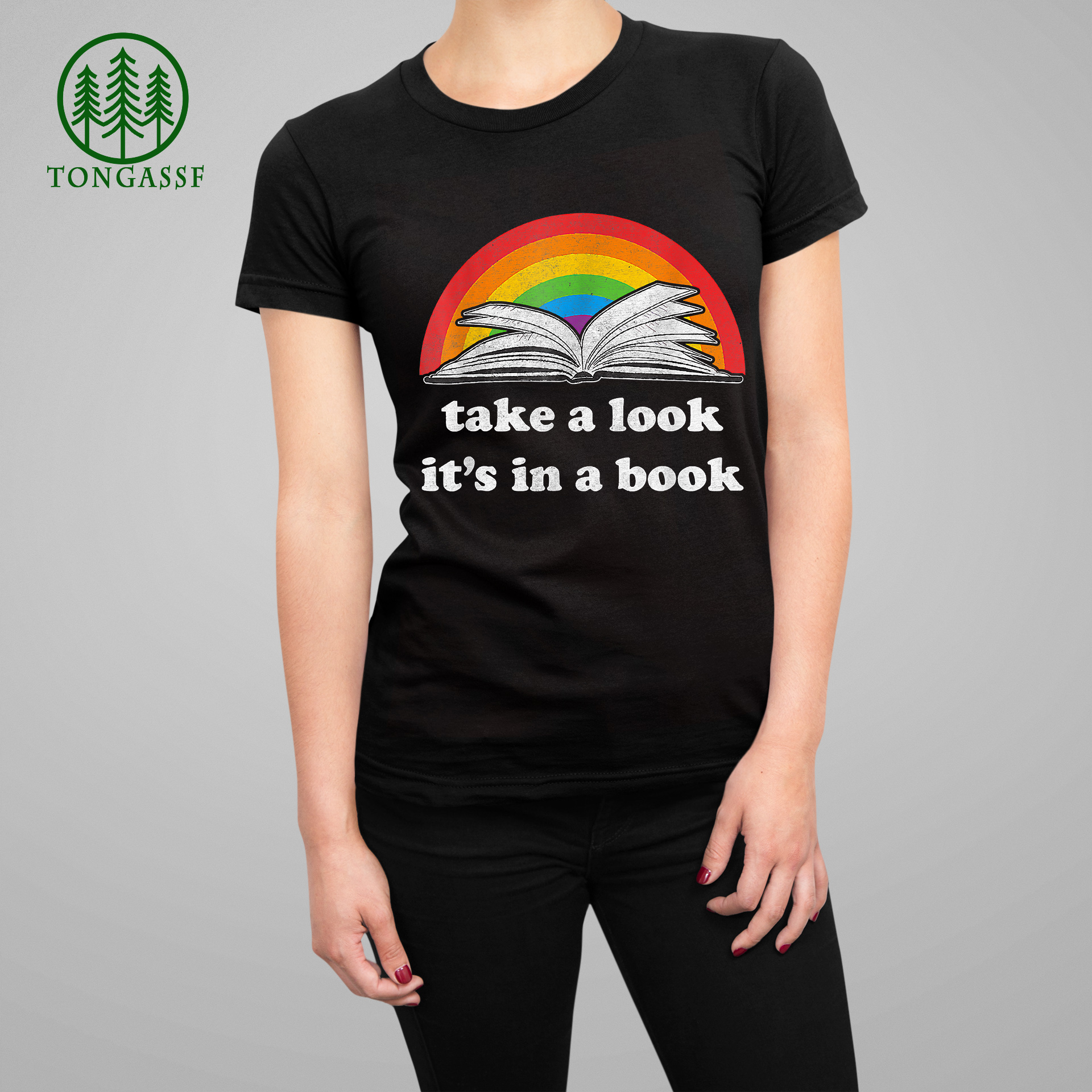 take a look it is in a book reading vintage retro rainbow T-Shirt