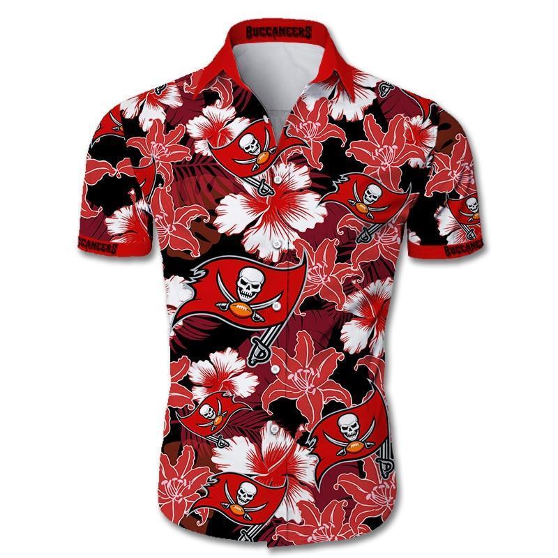 Tampa Bay Buccaneers Hawaiian Shirt Tropical Flower