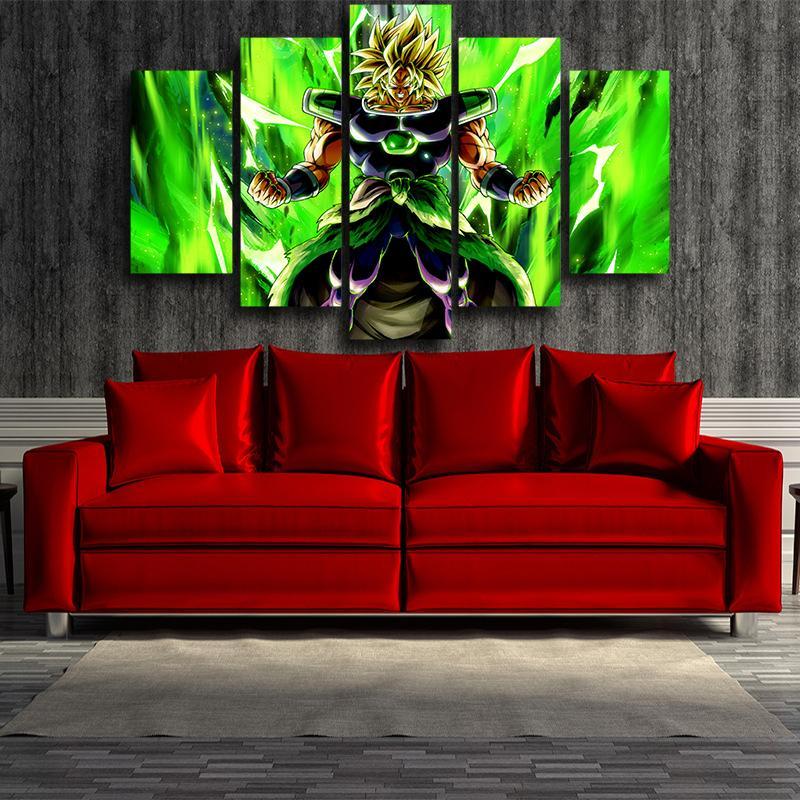 Dragon Ball Electrifying Broly Full Power 5 panel Canvas Print