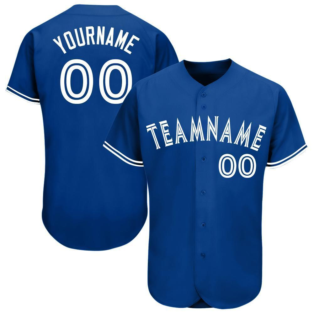 Custom Name Team Number Royal White Baseball Jersey Shirt