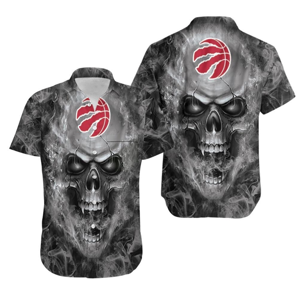 Toronto Raptors NBA fan skull Hawaiian Shirt
