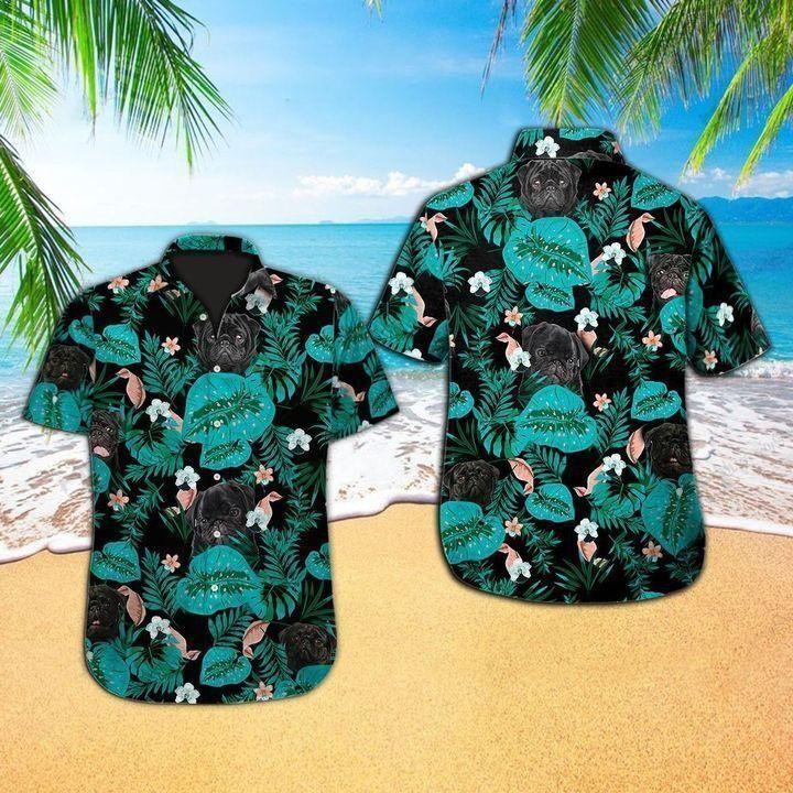 Tropical pug dog Hawaiian Shirt