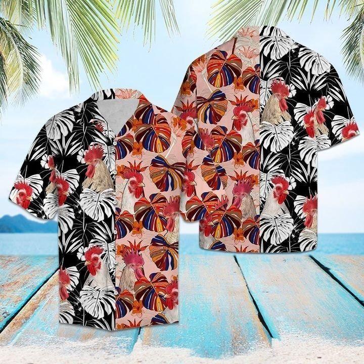 Tropical Rooster Floral Hawaiian Shirt