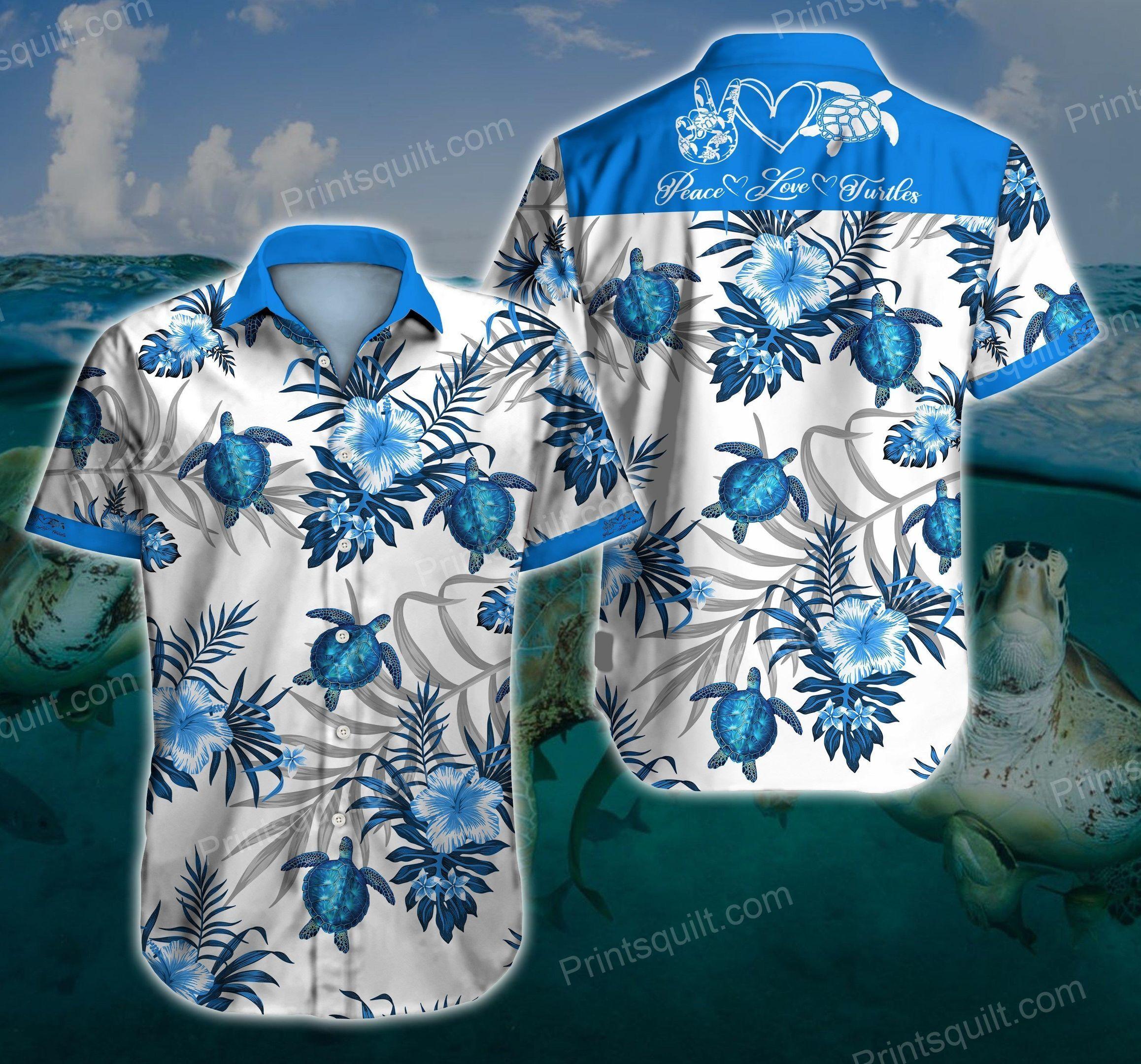 Peace love Turtles 3d Hawaii Shirt