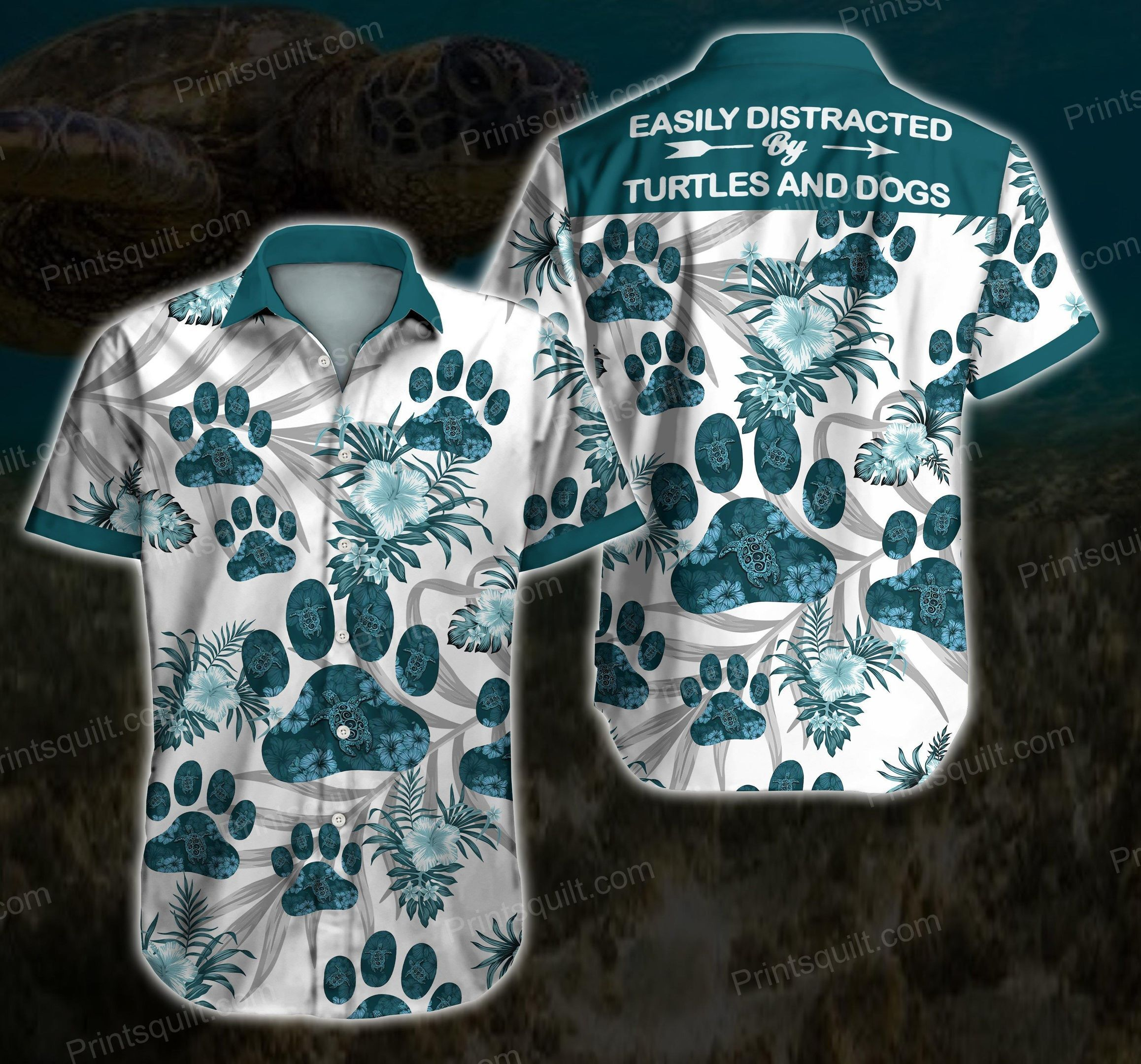 Easily distracted turtles and dogs Lovers Hawaii Shirt