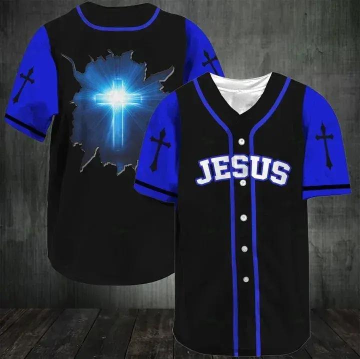 Jesus Amazing cross Blue Black Baseball Jersey shirt