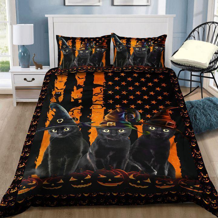 Black Cat Halloween with American Flag Bedding Set