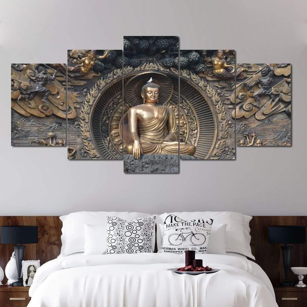 Gautama Buddha 5 panel wall art canvas
