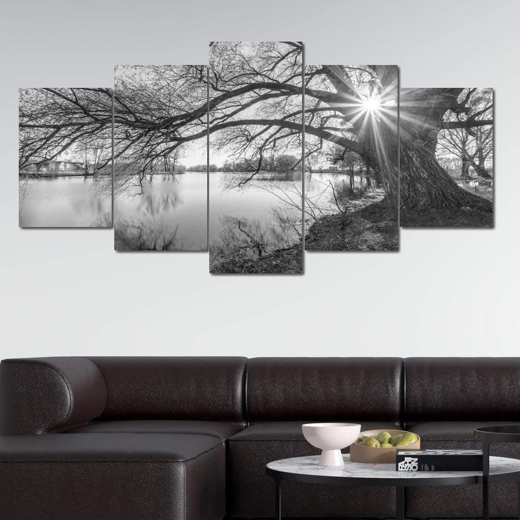 Black White Lake 5 panel wall art canvas