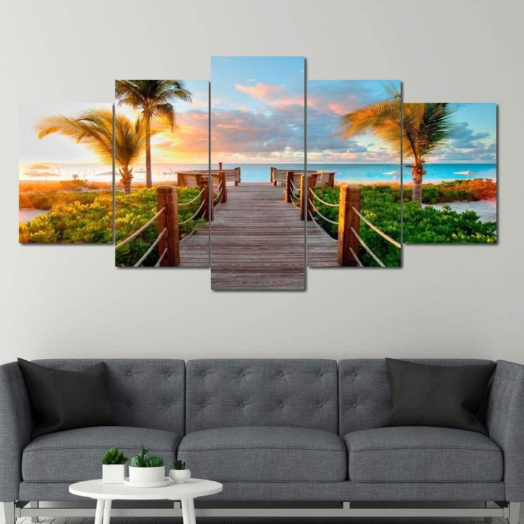 Boardwalk to Paradise 5 panel wall art canvas