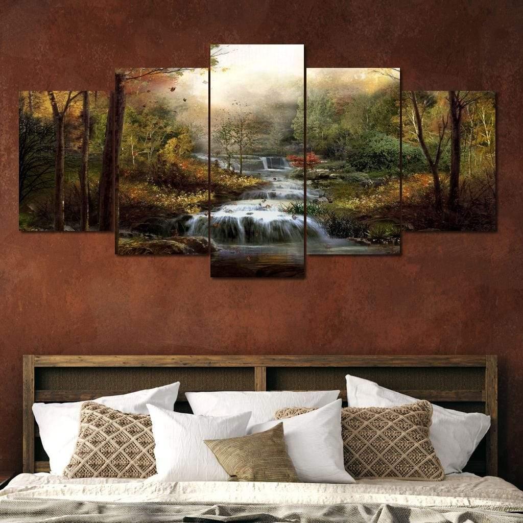Autumn Stream 5 panel wall art canvas