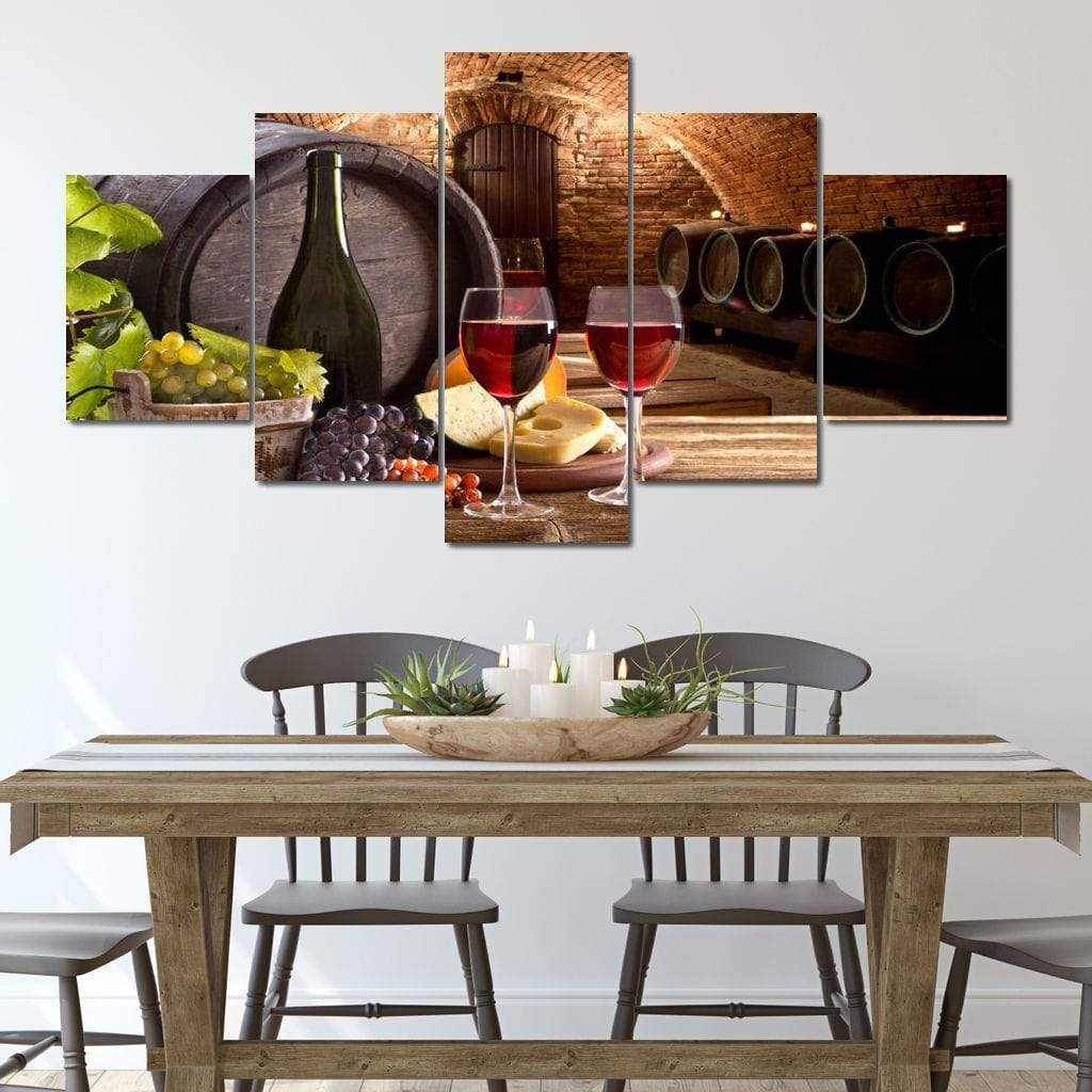 Wine with breakfast 5 panel wall art canvas