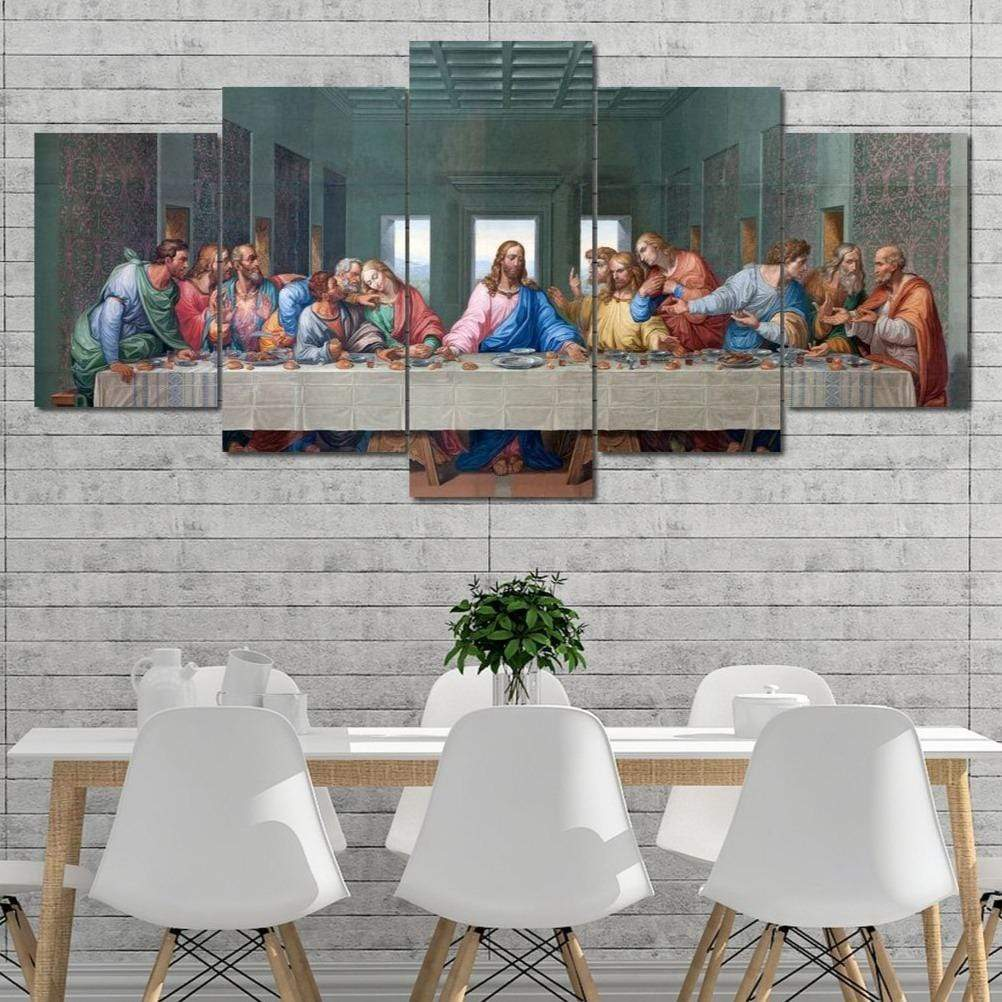 The Last Supper God 5 panel wall art canvas