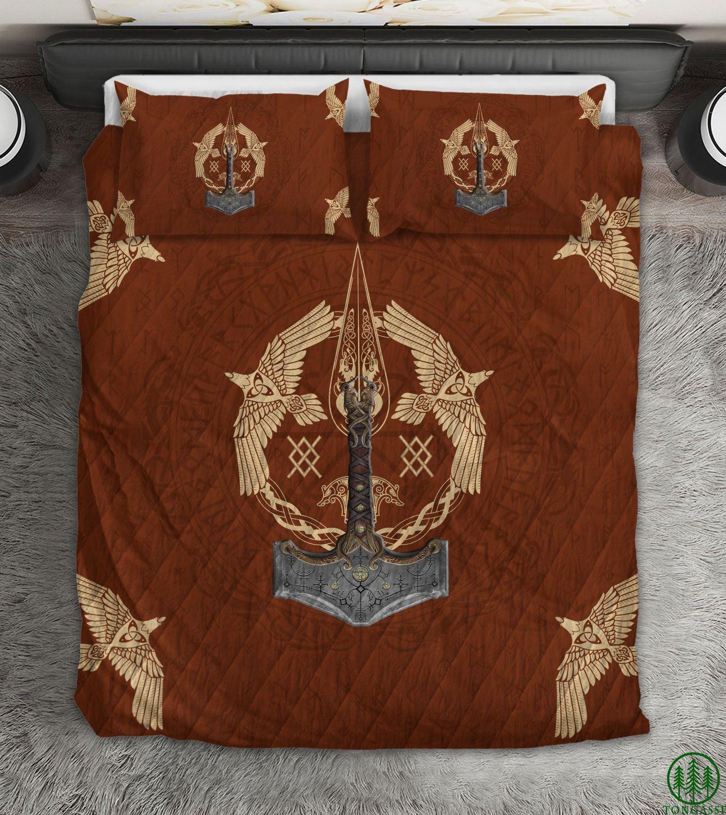 Viking Warrior Ax Gears Bedding Set