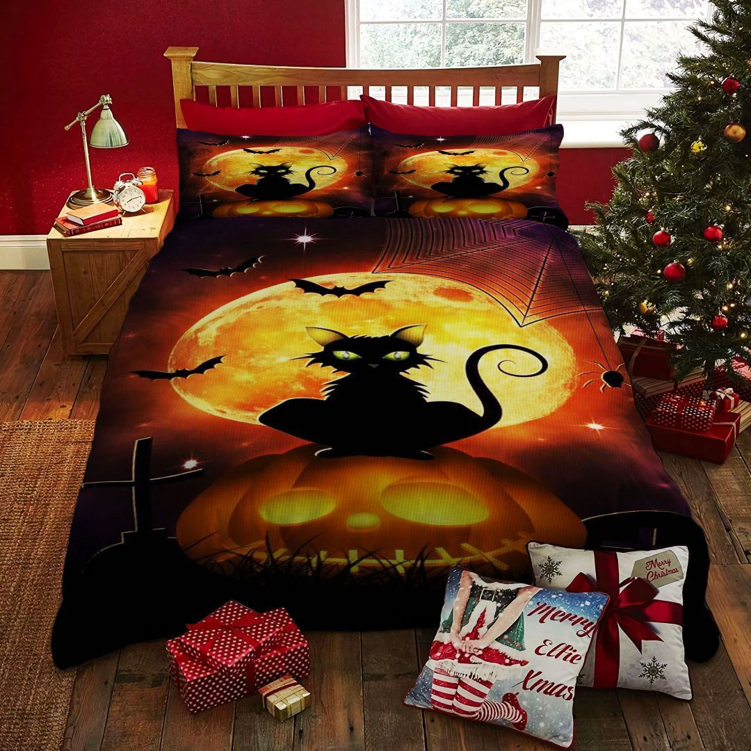 Scary cat and Big Moon Halloween Bedding set