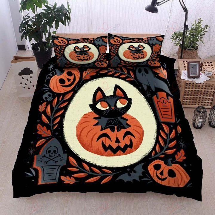 Cat And Pumpkin Chibi Style Halloween Bedding Set
