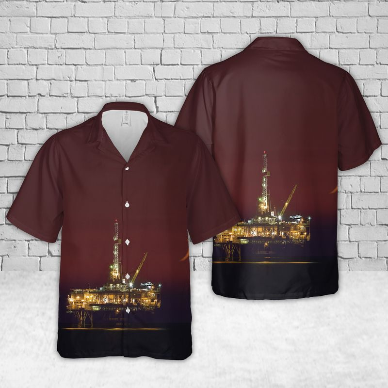 Oil Platform Harvest Offshore oil and gas in California Hawaiian Shirt