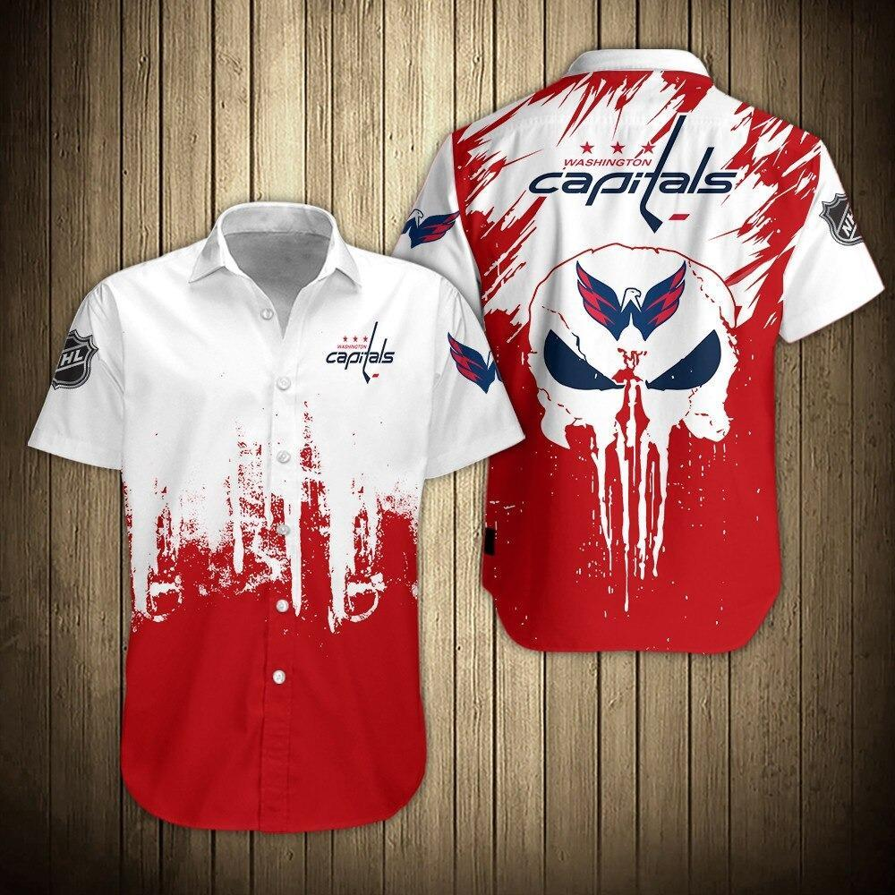 NHL Washington Capitals Skull Short Sleeve Shirts