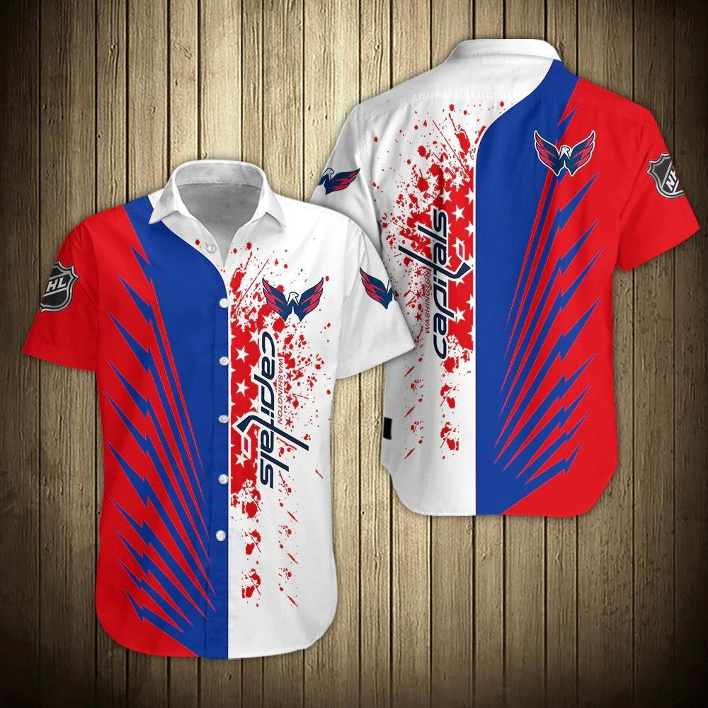 NHL Washington Capitals Striped Button Up Hawaiian Shirts