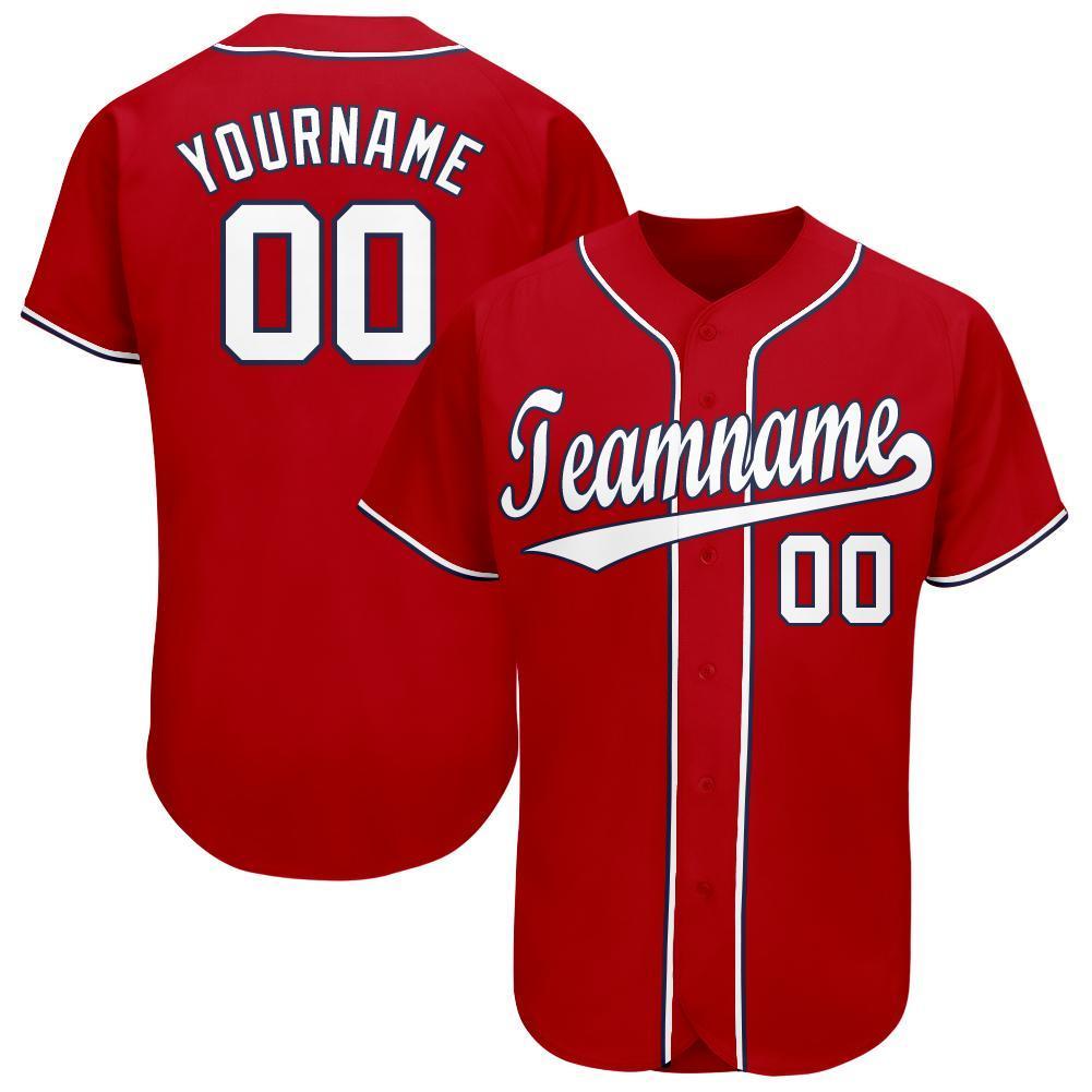 Custom Red White-Navy Baseball Jersey for team