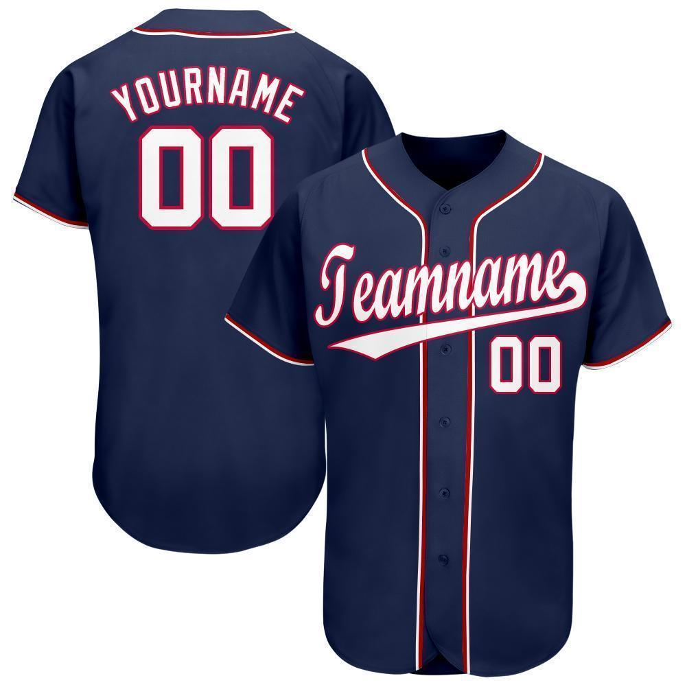 Personalized Team and Number Navy White-Red Baseball Jersey