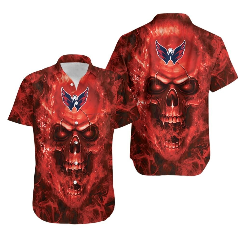 Washington Capitals NHL fan skull Hawaiian Shirt