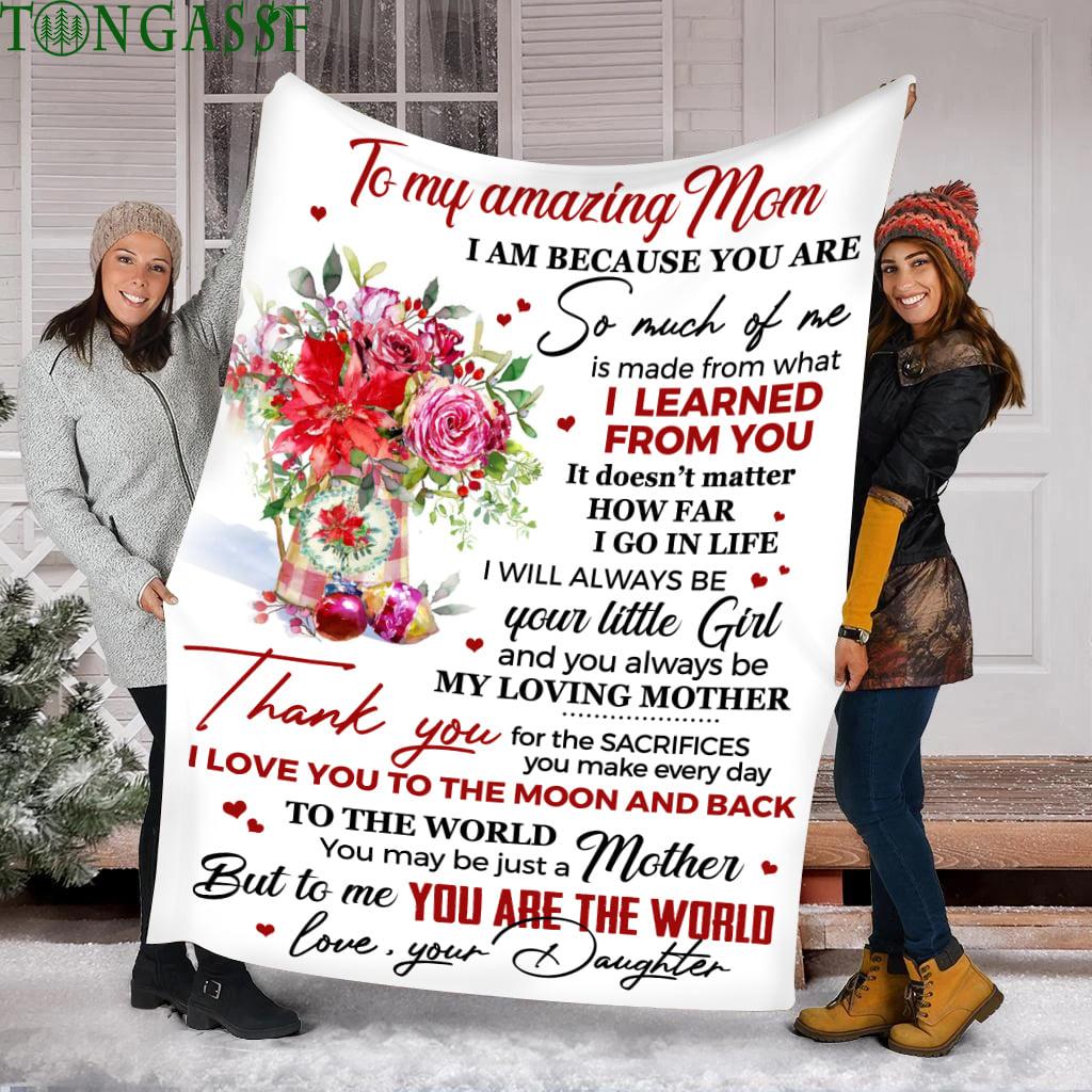 White flower amazing Mom blanket
