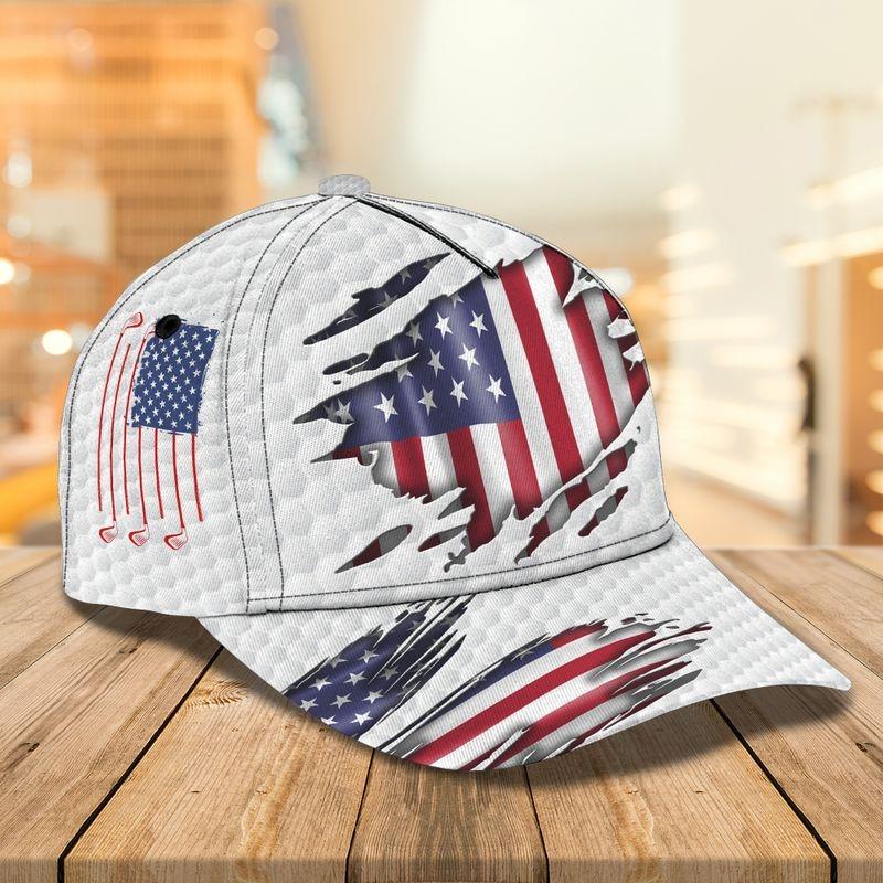 white usa flag classic cap golf