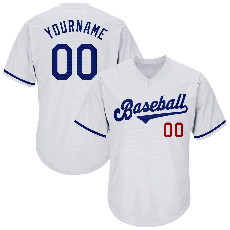 Custom White Royal-Red Authentic Throwback Rib-Knit Baseball Jersey Shirt
